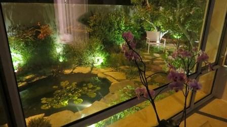 מראה הבריכה בלילה דרך חלון חדר השינה